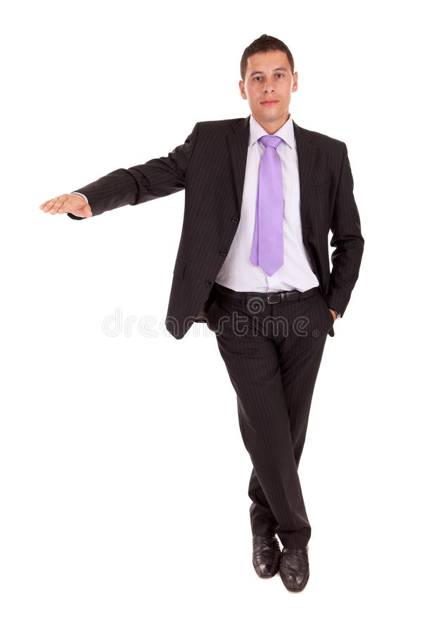Business man presenting your product stock photography
