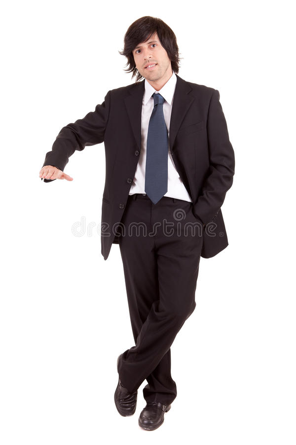 Business man presenting your product royalty free stock images