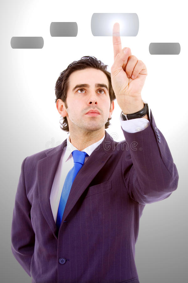 Free Business Man Pressing A Touchscreen Button, Royalty Free Stock Images - 12357929
