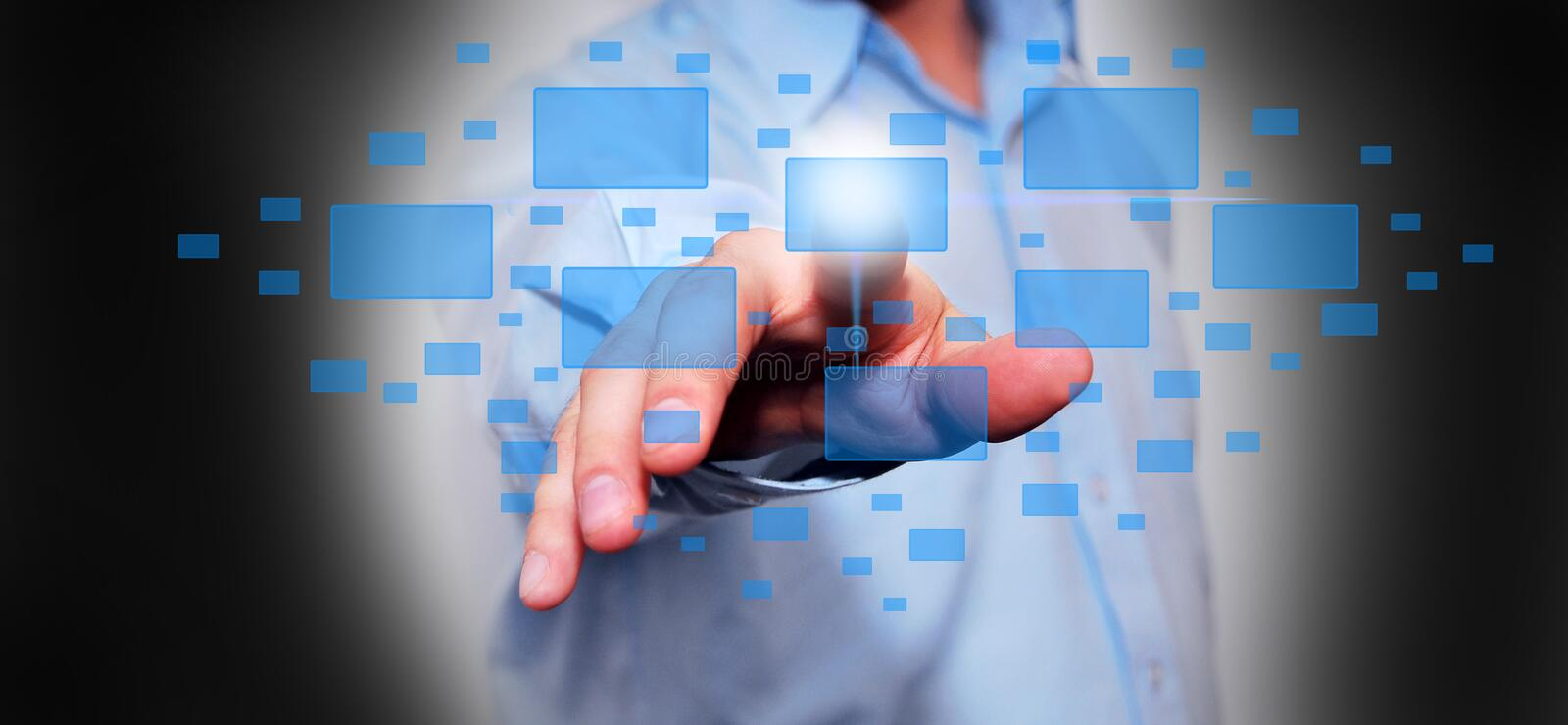 Download Business Man Pressing A  Button Stock Photos - Image: 26612363