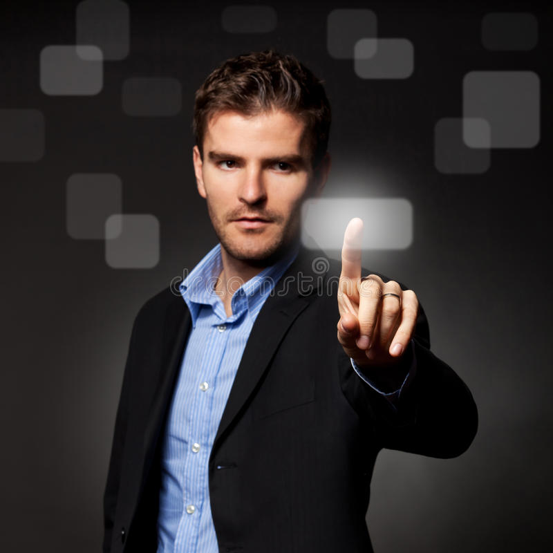 Download Business Man Pressing A Touchscreen Button Stock Image - Image: 22957501