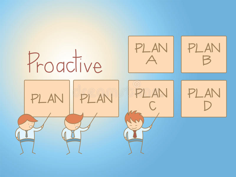 Business man proactive solution plan stock illustration