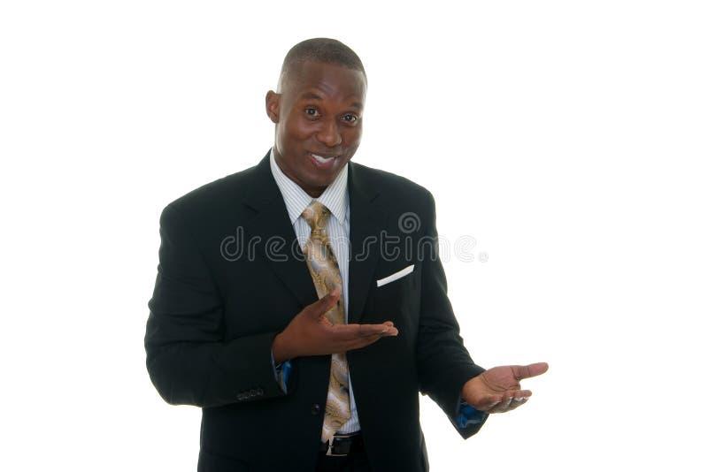 business man product sample showing στοκ εικόνες