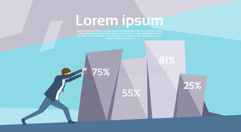 Business Man Push Financial Graph Growing Up Success Growth Concept. Flat Vector Illustration stock illustration