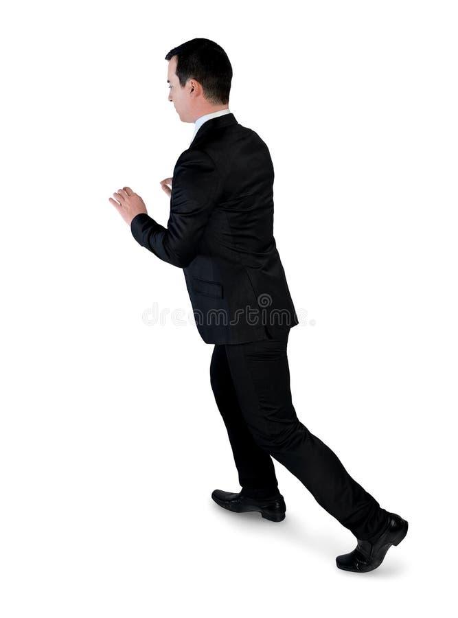 Business man push something. Isolated business man push something stock photos