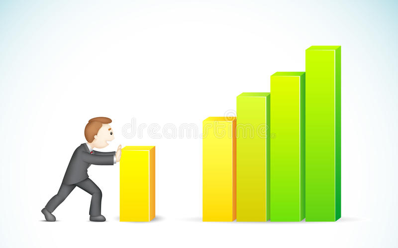 Download Business Man Pushing Bargraph Stock Photos - Image: 25935543