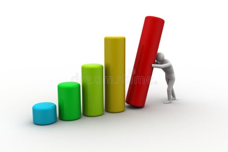 Business man pushing graph chart stock illustration