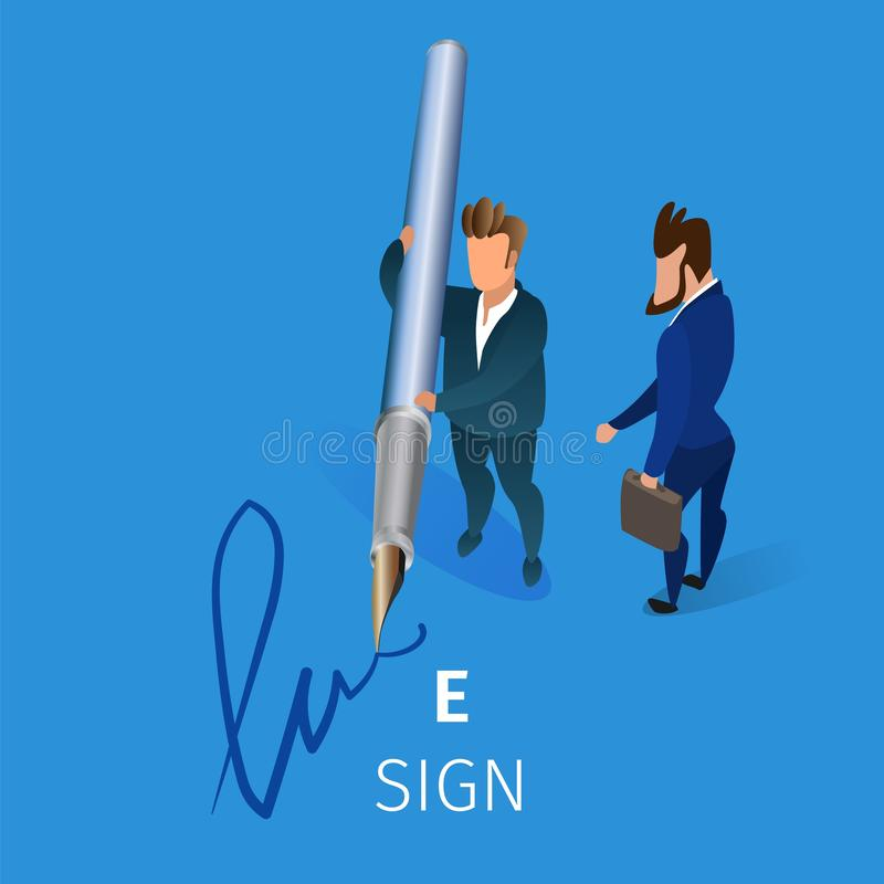 Business Man Put Electronic Signature on Contract. Businessman Holding Huge Quill Pen in Hands Putting E-Sign on Blue Background. Business Man Writing royalty free illustration