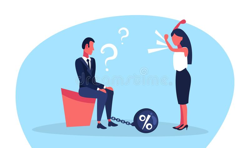Business man question marks chain bound leg credit debt finance crisis concept woman boss angry shouting conflict flat. Full length horizontal vector royalty free illustration