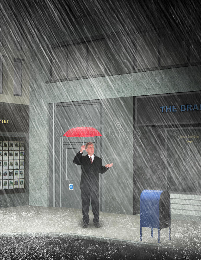 Business Man Rain City Street. A businessman is on a city street in a rain storm. Can be used as a metaphor for sales, profit, marketing, and leadership. The stock image