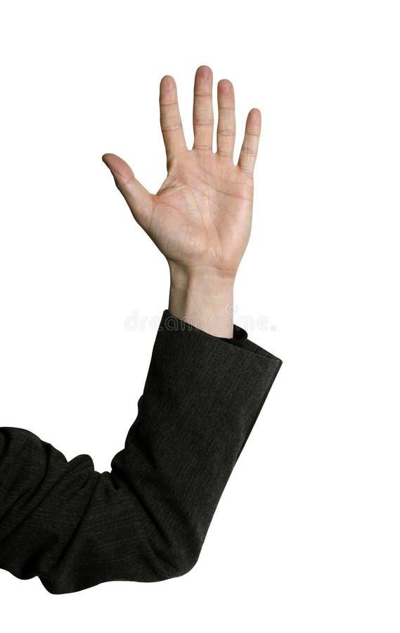 Business man raising hand royalty free stock photo