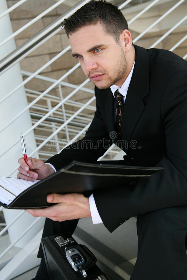 Business Man Reading royalty free stock photos