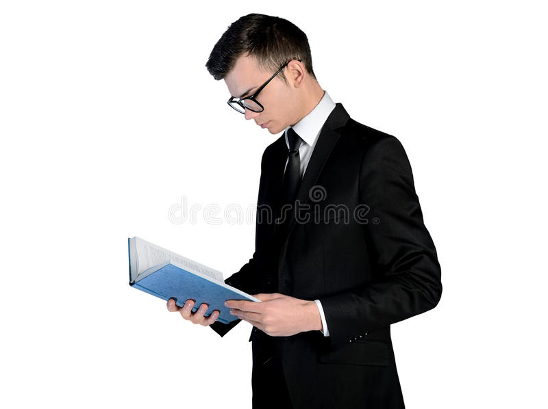 Business man reading book. Isolated business man reading book stock image