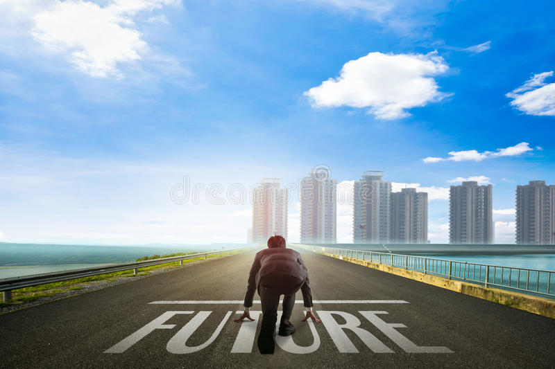 Business man ready to future toward the city. Business concept stock photography