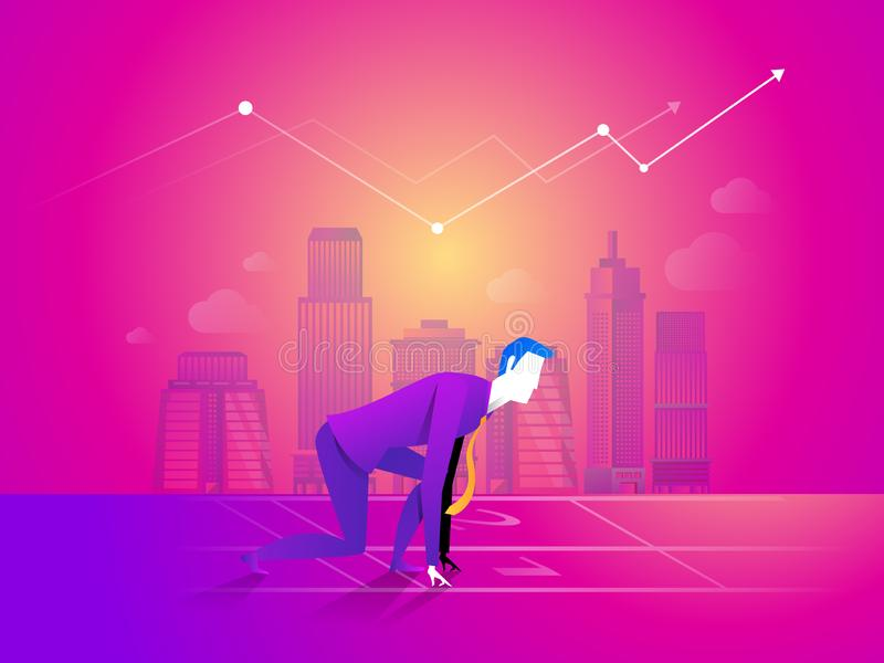 Business man is ready to run at start point on business chart background. vector illustration