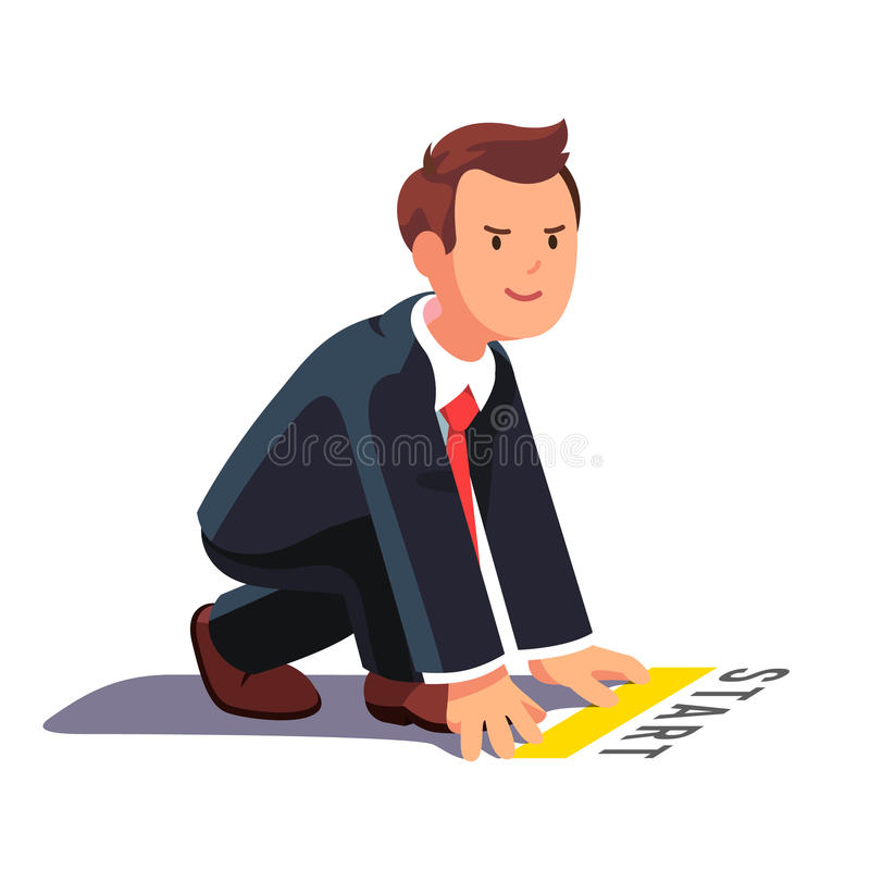 Business man ready to sprint run. Business man in starting position ready to sprint run. Side view. Flat style vector illustration isolated on white background stock illustration