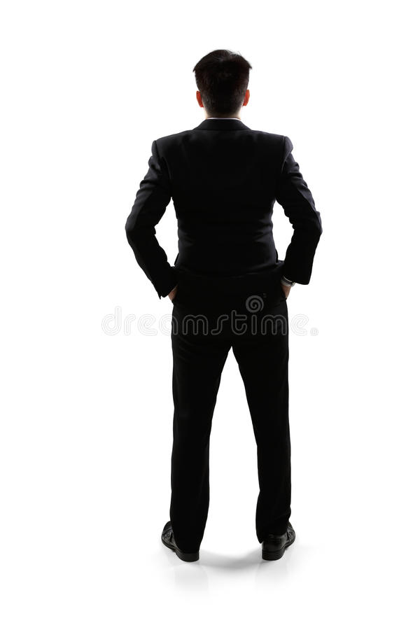 Business man in rear view. Full length portrait, Isolated over white royalty free stock photography