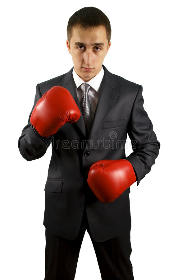 Business man with a red boxing gloves stock image