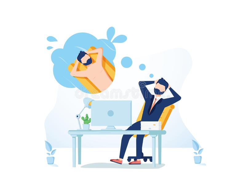 Business man is relaxing and dreaming about surfing and vacation on a tropical island at his work place. Modern office royalty free illustration