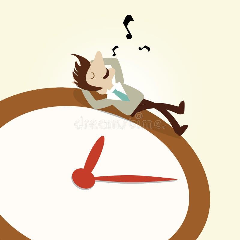Business man rest on clock. Whistling stock illustration