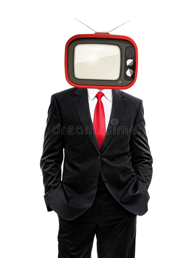 Business man with retro tv on his head royalty free illustration
