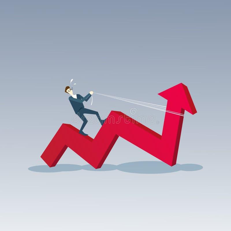 Business Man Ride Red Arrow Up Financial Success Concept. Flat Vector Illustration stock illustration