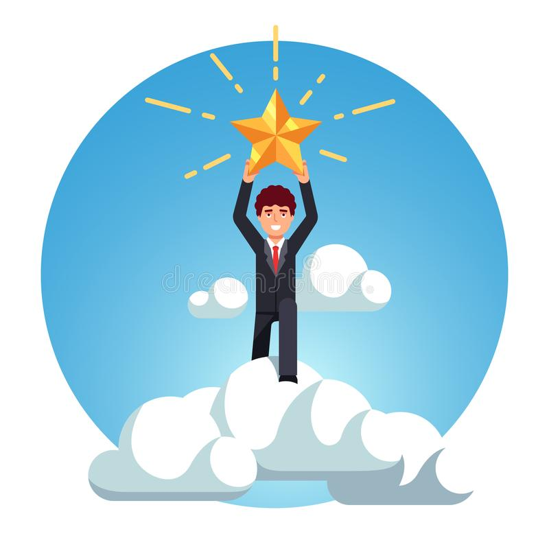 Business man rise above sky clouds and catch star royalty free illustration