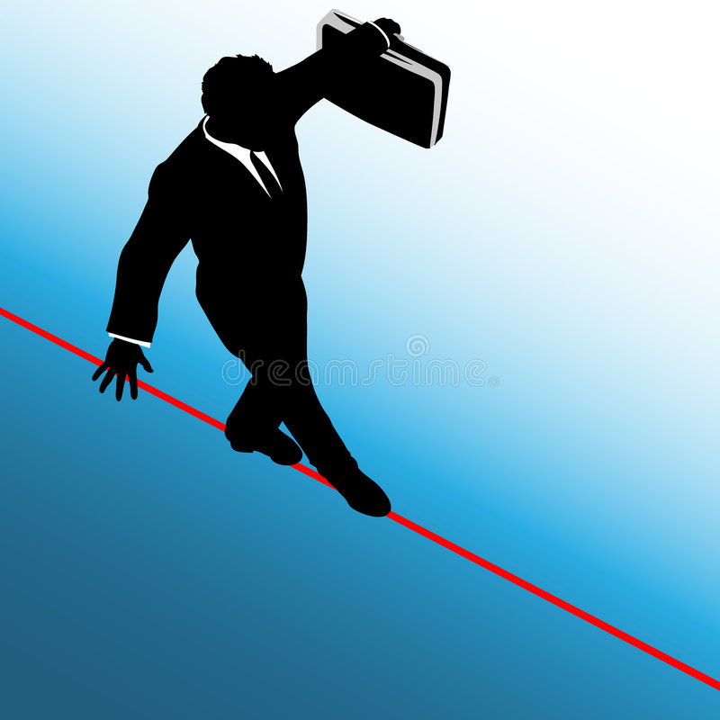Business Man Risk Tightrope Background royalty free illustration