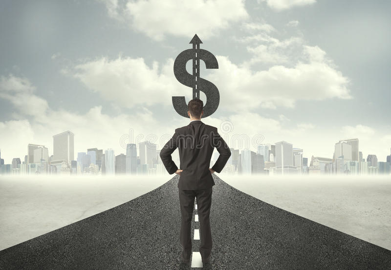 Download Business Man On Road Heading Toward A Dollar Sign Stock Photo - Image of currency, financial: 50781018
