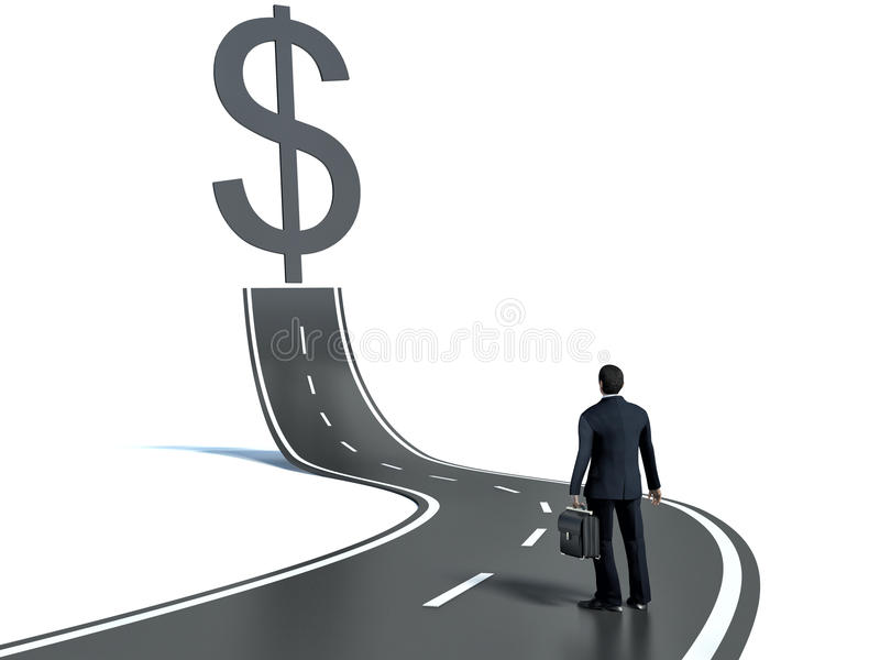 Business man on road heading toward a dollar sign concept stock illustration