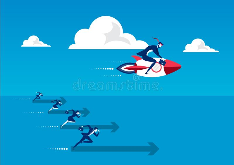 Business man on rocket engine on his back flies upwards at high speed. Concept of startup and quick success. vector illustration