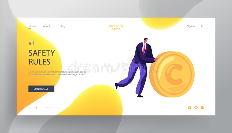 Business Man Rolling Gold Coin Website Landing Page, People and Money Safety, Investment, Financial Secure, Profit, Salary Wealth vector illustration