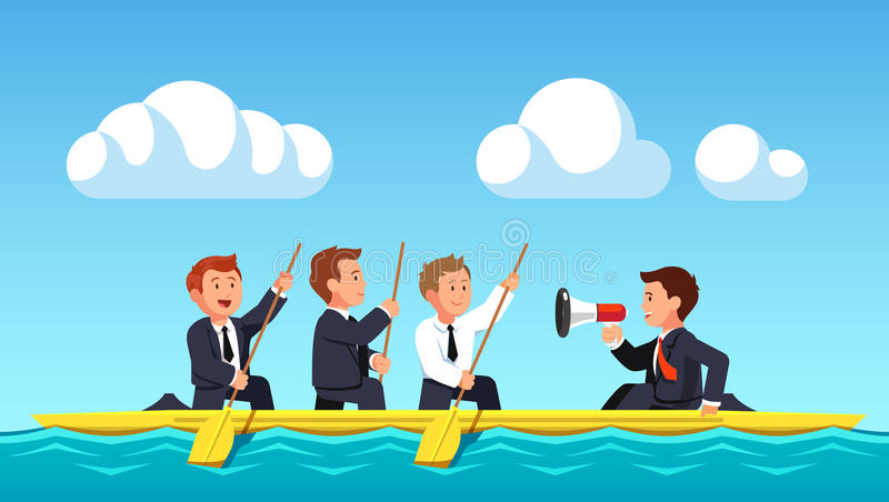 Business man rowing under the guidance of leader. Business man rowing with oars under the guidance of their leader or boss shouting commands into the speaker royalty free illustration