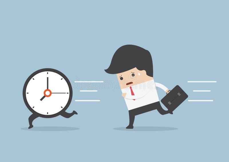 Business man run follow the clock. VECTOR, EPS10 royalty free illustration