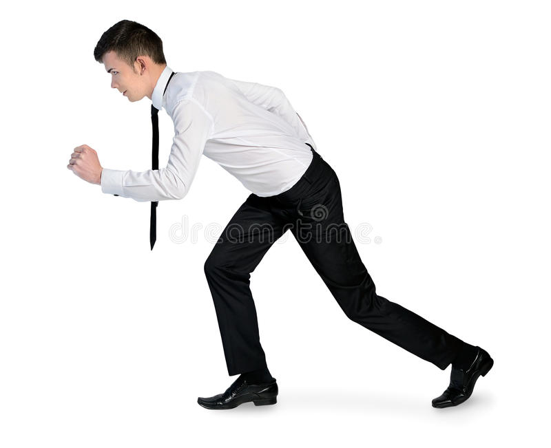 Business man run. Isolated young business man run royalty free stock photo