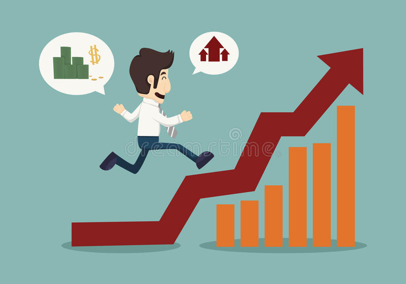 Business man runing top of graph vector illustration