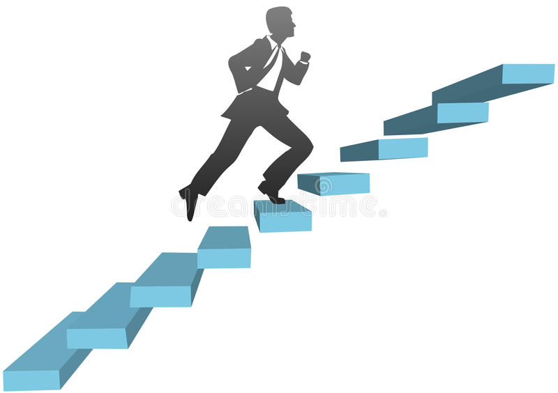 Business man running climb stairs stock illustration
