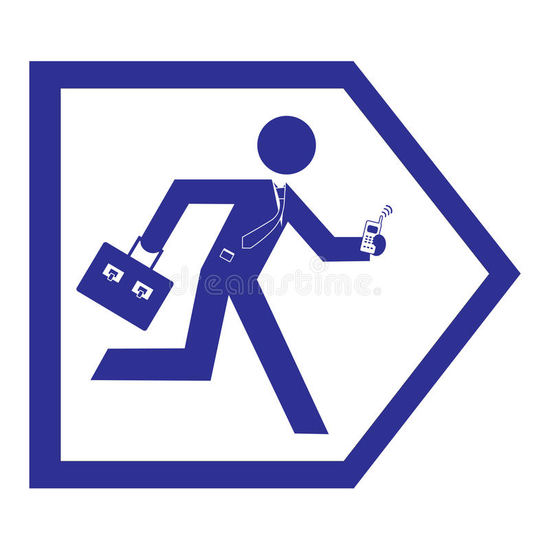 Business Man Running Sign Stock Photography