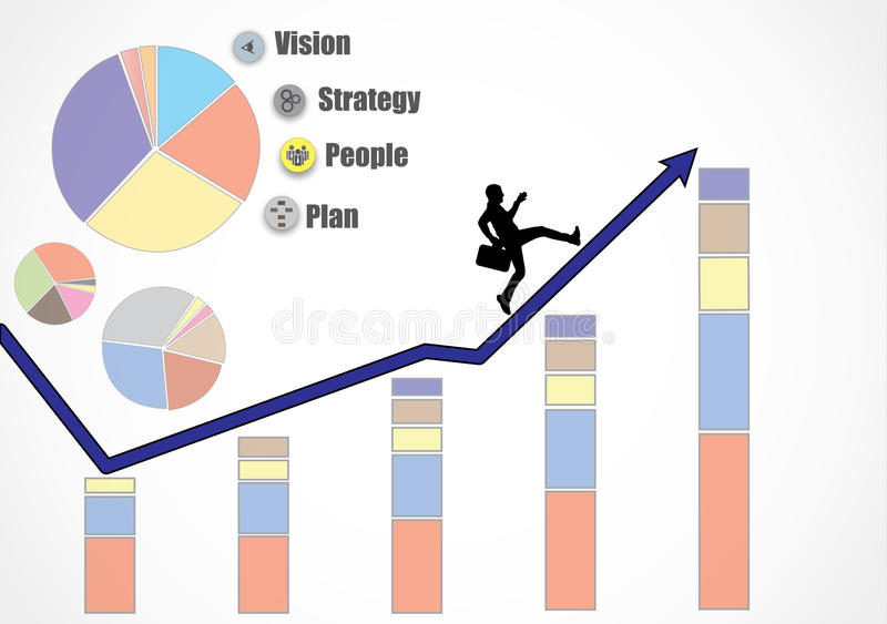 Business man running up an growth arrow heading for more growth, revenue, profits, turnover because of strategy, people, plan and vector illustration