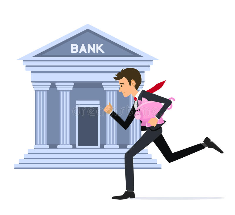 Free Business Man Running With Piggy-bank To Bank Stock Image - 78863081