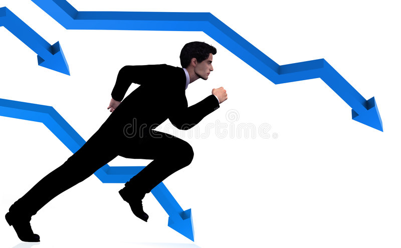 Download Business Man Runs For Cover Stock Illustration - Image: 6755747
