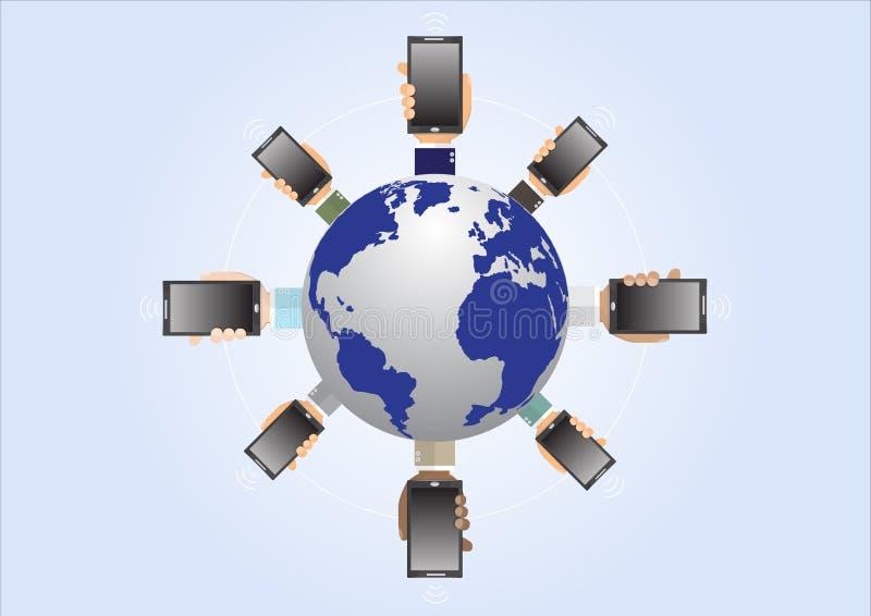 Business man`s hands holding smartphone around world, business technology wireless communication concept. Vector illustration vector illustration