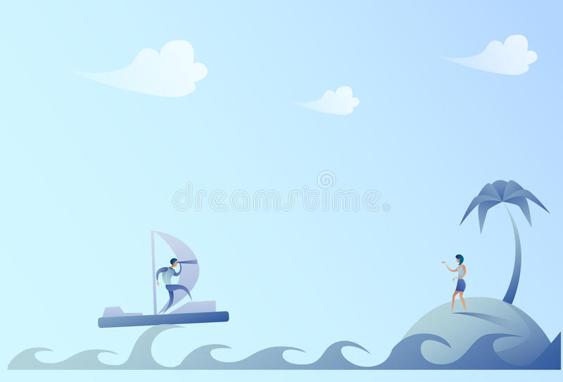 Business Man Sailing On Boat Looking With Binocular Businesswoman On Island Success Concept vector illustration