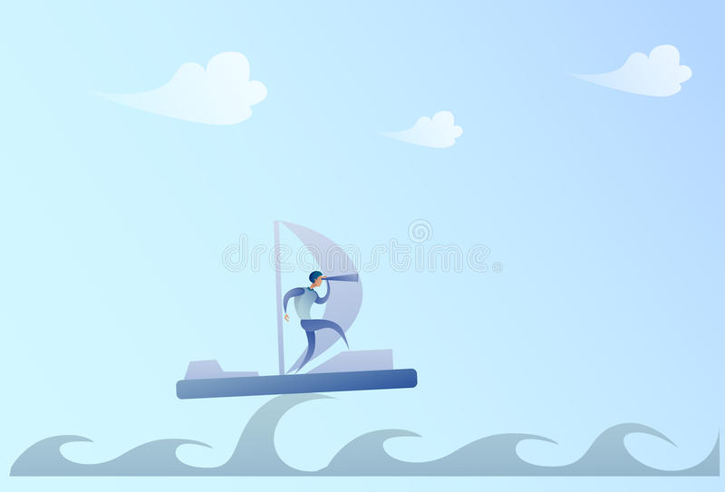 Business Man Sailing On Boat Looking With Binocular On Future Opportunity Businessman Leader Success Concept. Vector Illustration stock illustration
