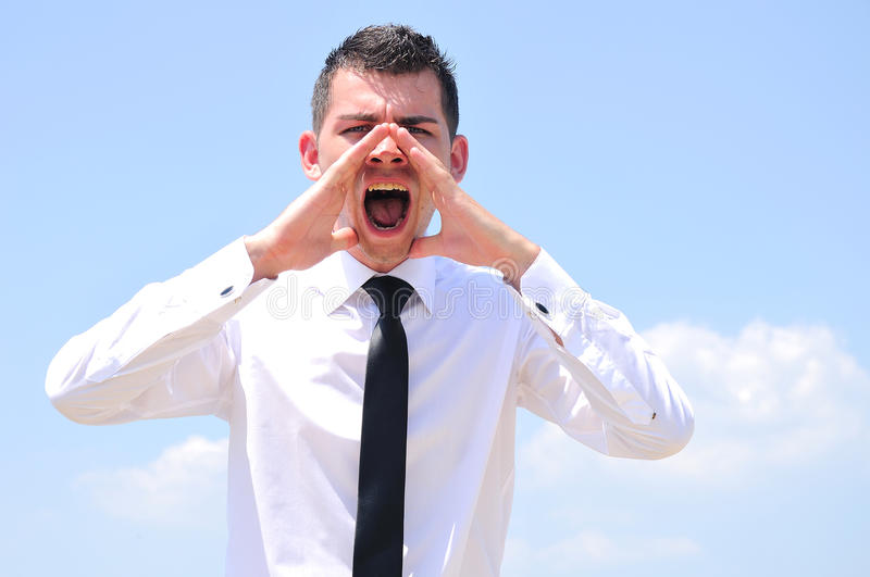 Download Business Man screaming stock image. Image of message - 25801765
