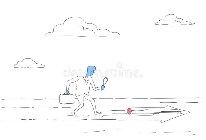 Business Man Searching For Destination On Digital City Map Gps Navigation Concept royalty free illustration