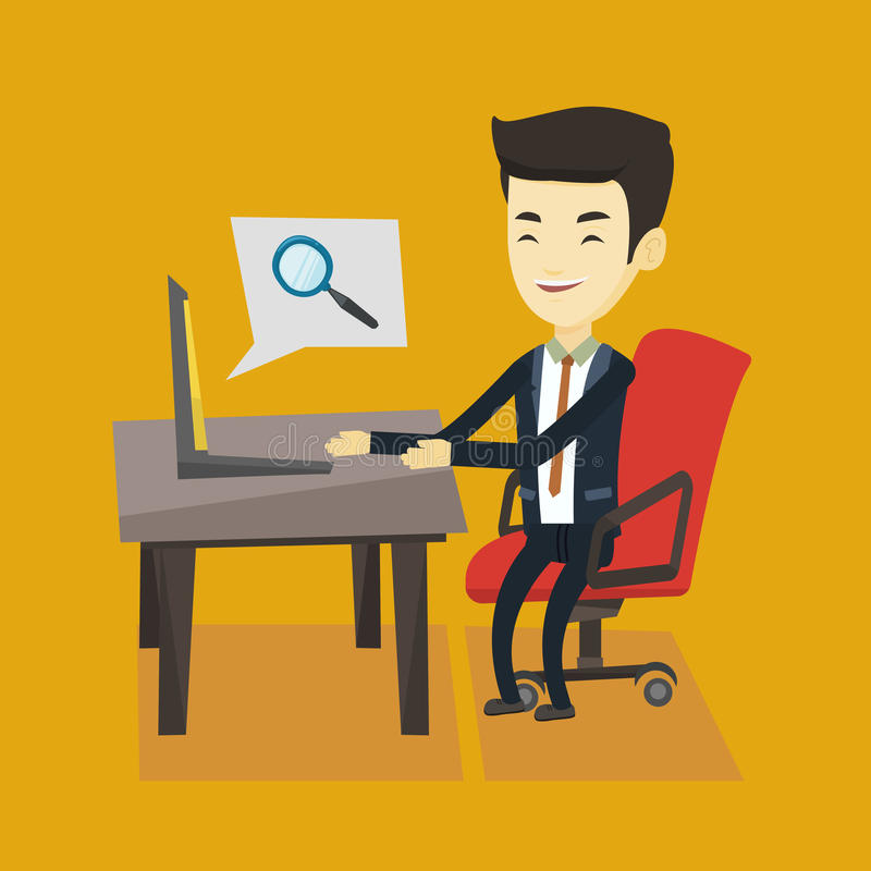 Business man searching information on internet. Young asian business man working on his laptop in office and searching information on internet. Concept of stock illustration