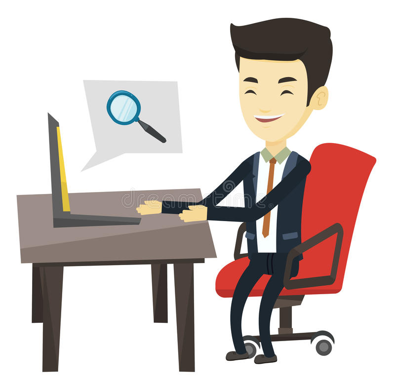 Business man searching information on internet. Young asian business man working on his laptop in office and searching information on internet. Concept of royalty free illustration