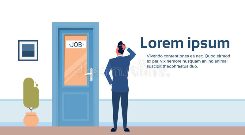 Business Man Searching for Job Interview Candidate Office Room Door Corridor Hallway vector illustration