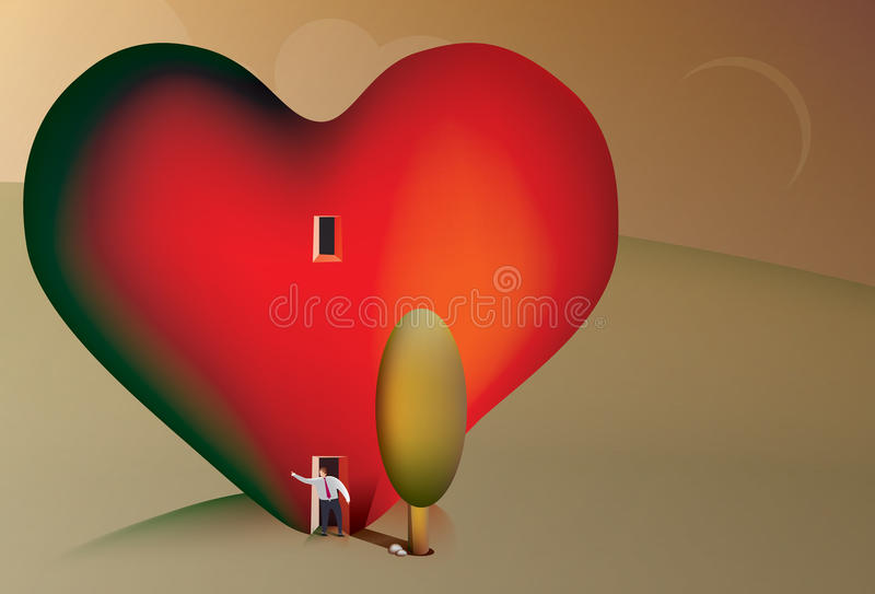 Business man searching for love. Illustration of a business man living in a heart searching for love vector illustration